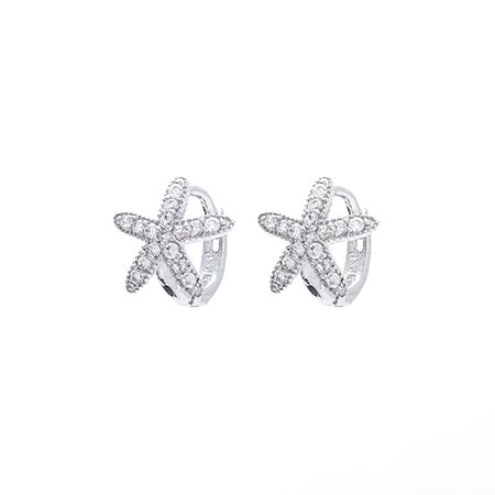 Sterling Silver Petite CZ Starfish Huggie Earrings | Eve's Addiction®