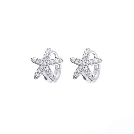 Sterling Silver Petite CZ Starfish Huggie Earrings