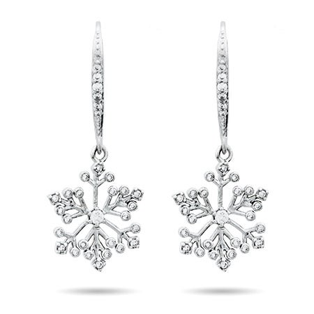 Snowflake Dangling CZ Earrings in Sterling Silver | Eve's Addiction®
