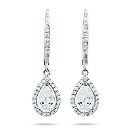Halo Teardrop CZ Sterling Silver Earrings | Eve's Addiction®