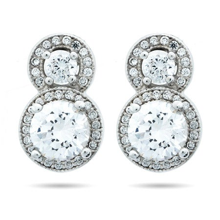 Halo Circle Stud Brilliant Cut CZ Earrings | Eve's Addiction®