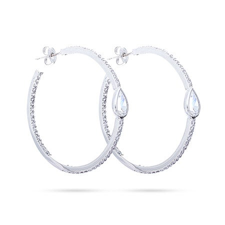 """Sterling Silver 1.25"""" Inside Out Teardrop CZ Hoops 