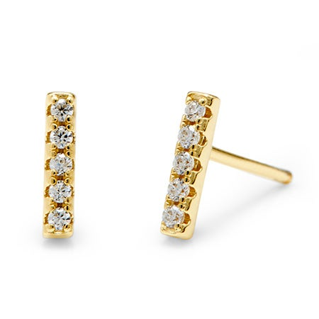 Designer Inspired Gold CZ Bar Studs | Eve's Addiction®