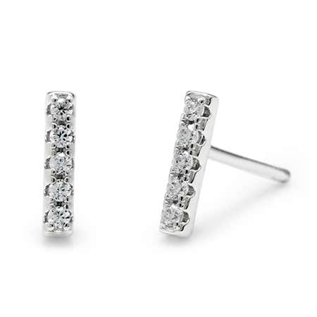 display slide 1 of 2 - CZ Bar Sterling Silver Studs - selected slide