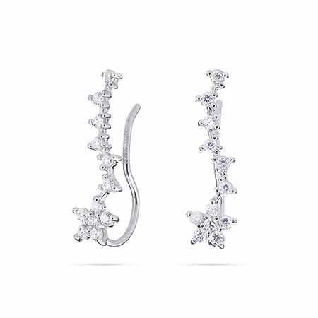 Diamond CZ Flower Ear Crawlers   Eve's Addiction®
