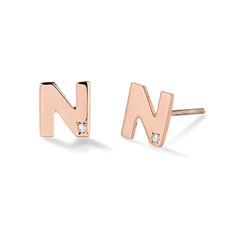 Rose Gold Initial Stud Earrings with Diamond Accents | Eve's Addiction®