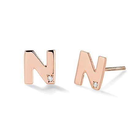 Rose Gold Initial Stud Earrings with Diamond Accents