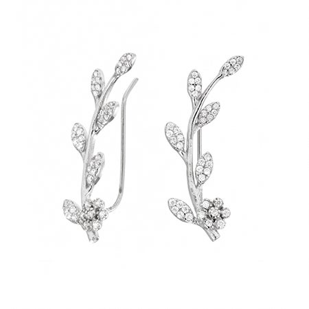 Sparkling Vine Sterling Silver Ear Crawlers   Eve's Addiction®