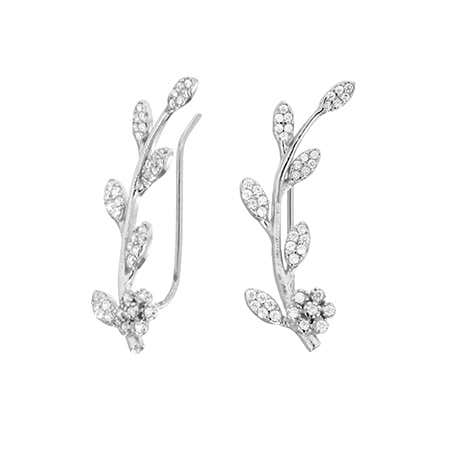Sparkling Vine Sterling Silver Ear Crawlers