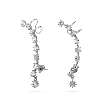 Oval Cascade Sterling Silver CZ Ear Crawlers | Eve's Addiction®