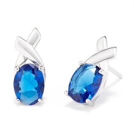 Custom Birthstone Oval X Stud Earrings