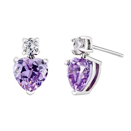 display slide 1 of 3 - Custom Heart Birthstone CZ Stud Dangle Earrings - selected slide