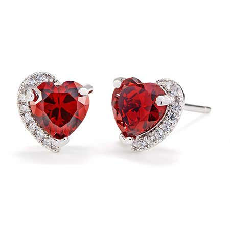 Custom Heart Birthstone CZ Half Halo Earrings