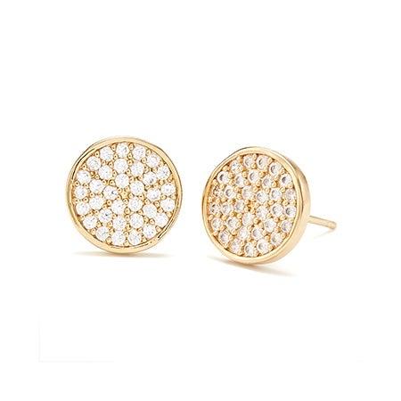 Gold gorjana Pristine Circle Studs | Eve's Addiction Jewelry