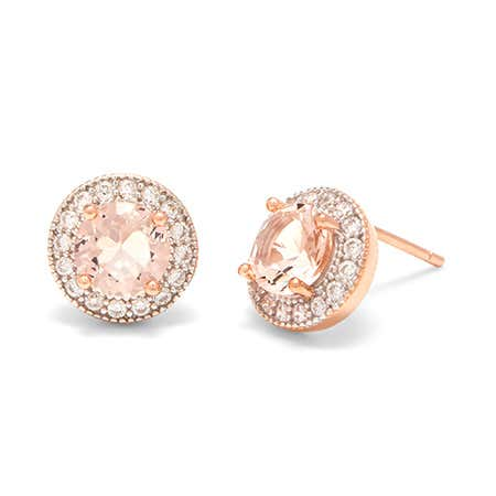 display slide 1 of 2 - High Quality Rose Gold Morganite CZ Halo Stud Earrings - selected slide