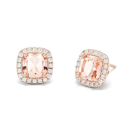 Rose Gold Morganite Square Shape CZ Halo Stud Earrings