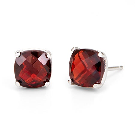 Garnet January Birthstone Earrings in 925 Sterling Silver