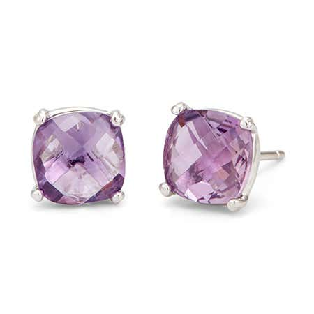 Pale Purple Amethyst Gemstone Sterling Silver Earring Studs