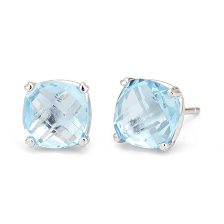 Sterling Silver Blue Topaz Amethyst Gemstone Stud Earrings