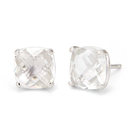 Real White Topaz Amethyst Gemstone Birthstone Stud Earrings