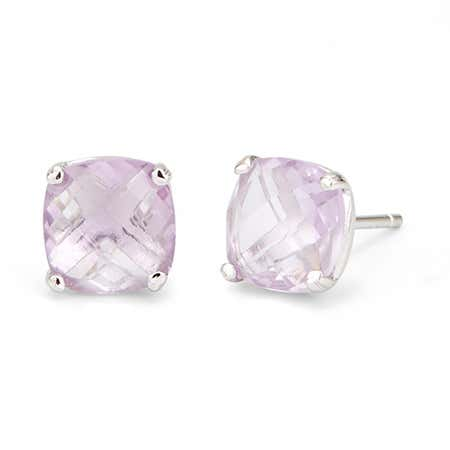 Genuine Pink Amethyst Gemstone June Birthstone Earring Studs