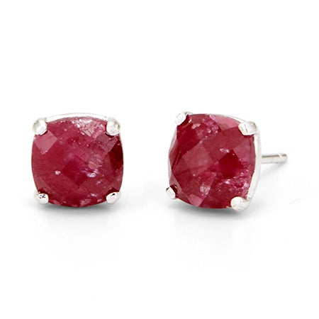 Genuine Ruby Gemstone July Birthstone Earring Silver Studs