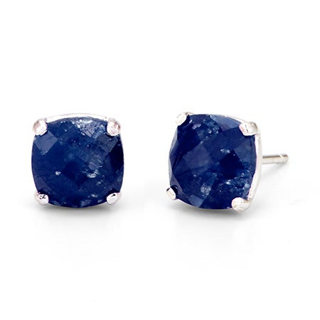 Genuine Sapphire September Birthstone Silver Stud Earrings