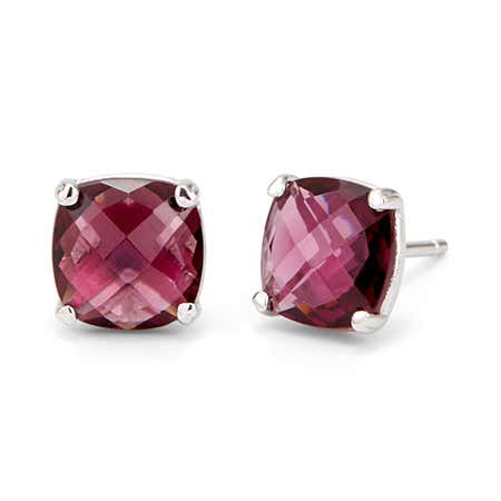 Genuine Rhodolite October Birthstone Stud Earrings in Silver