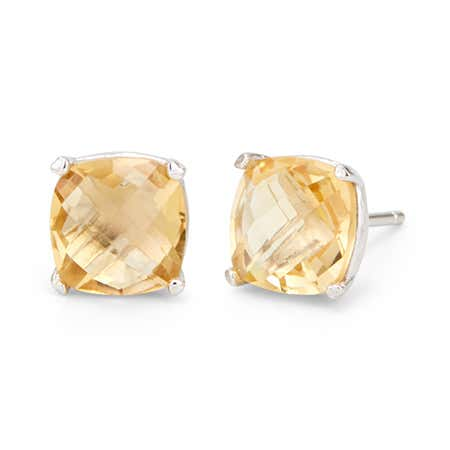 Genuine Citrine November Birthstone Stud Earrings in Silver