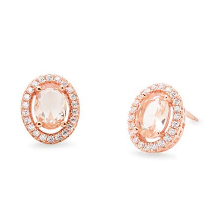 Oval Cubic Zirconias Rose Gold Morganite Earrings