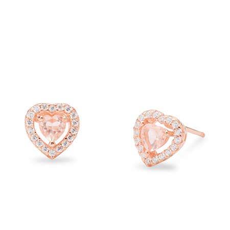 Pale Pink Cubic Zirconia Heart Studs Earrings