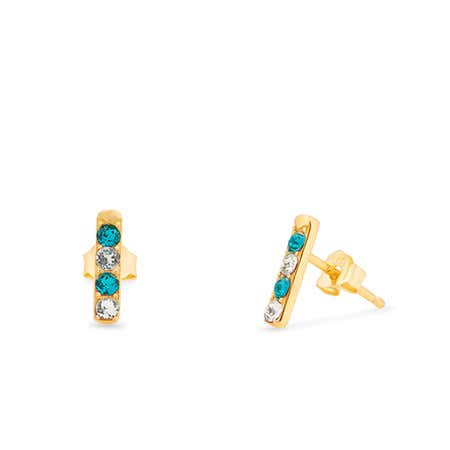 4 Stone Birthstone Gold Bar Earrings