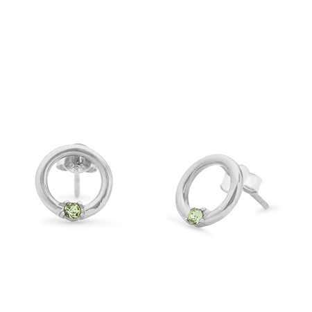 1 Stone Sterling Silver Open Circle Stud Earrings