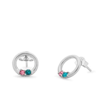 2 Stone Sterling Silver Open Circle Stud Earrings