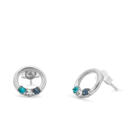 3 Stone Sterling Silver Open Circle Stud Earrings
