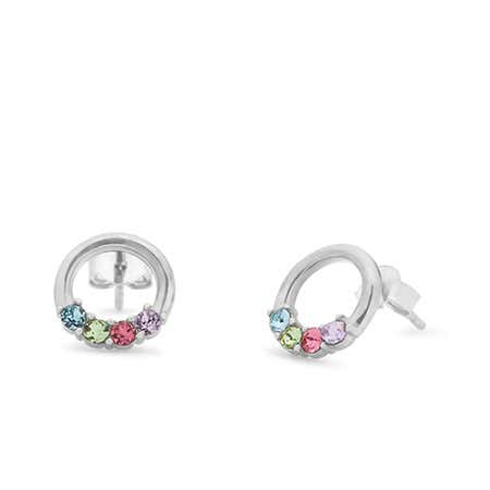 display slide 1 of 2 - 4 Stone Sterling Silver Open Circle Stud Earrings - selected slide