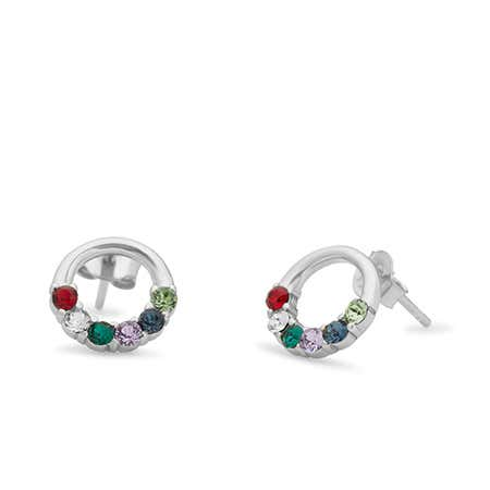 6 Stone Sterling Silver Open Circle Stud Earrings