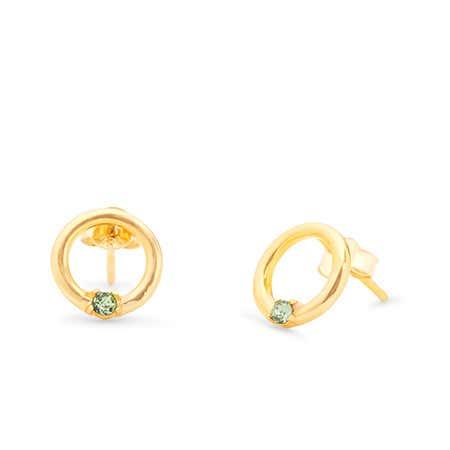 1 Stone Gold Open Circle Stud Earrings