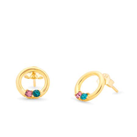2 Stone Gold Open Circle Stud Earrings