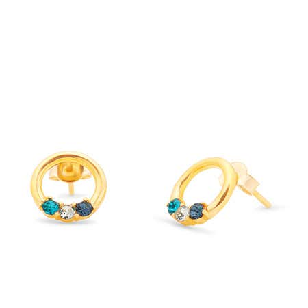 3 Stone Gold Open Circle Stud Earrings