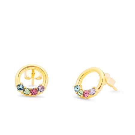 4 Stone Gold Open Circle Stud Earrings