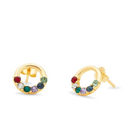 6 Stone Gold Open Circle Stud Earrings