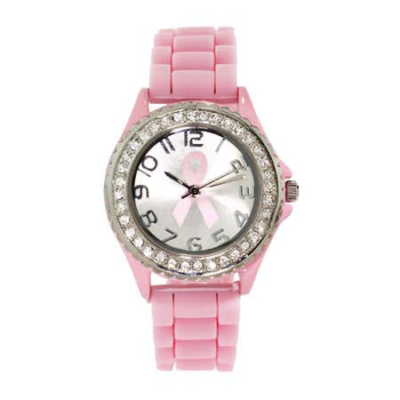 Pink Breast Cancer Jelly Watch with Crystals | Eve's Addiction®
