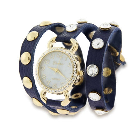 Navy Blue Leather with Gold CZ Studs Wrap Around Watch | Eve's Addiction®