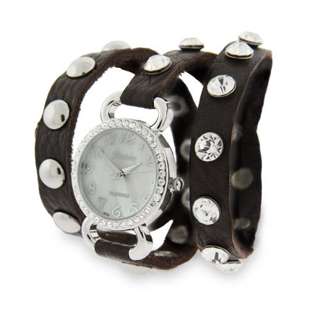 Brown Leather CZ Studded Wraparound Watch | Eve's Addiction®