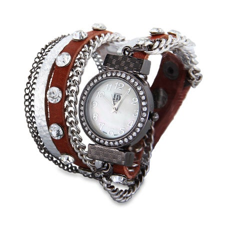 Silver and Sienna Wrap Around Chain Watch