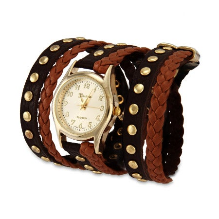 Two Tone Brown Braided Leather Gold Stud Wrap Watch