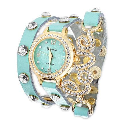 Mint Green CZ Stud Love Wrap Watch