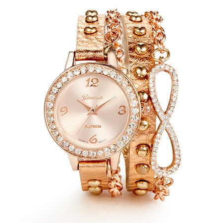 Leather Rose Gold Wrap Watch   Eves Addiction
