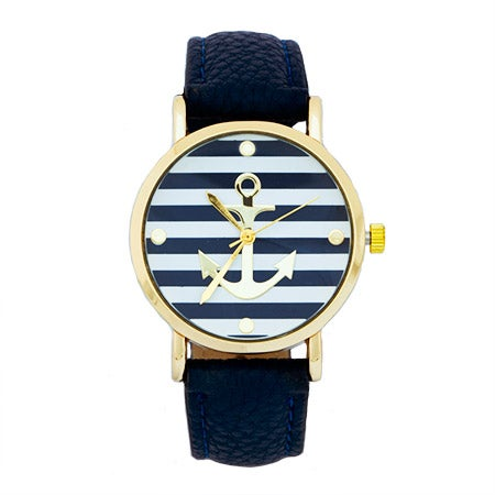 Anchor Watch with Navy Leather Band | Eve's Addiction®